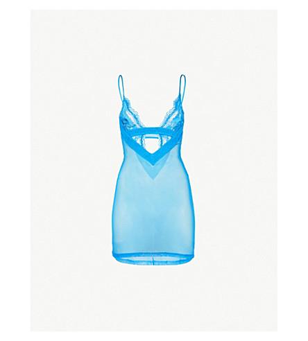 LA PERLA Lapis Lace stretch-lace slip dress (Teal