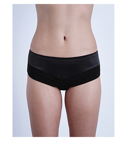 LA PERLA Silk Essence satin boyshort briefs (Black