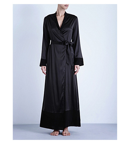 LA PERLA Silk essence long stretch-silk robe (Black