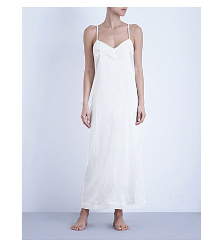 LA PERLA Silk essence long stretch-silk nightgown (Natural