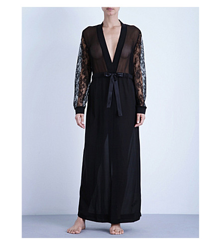 LA PERLA Shape-Allure long silk and lace robe (Black