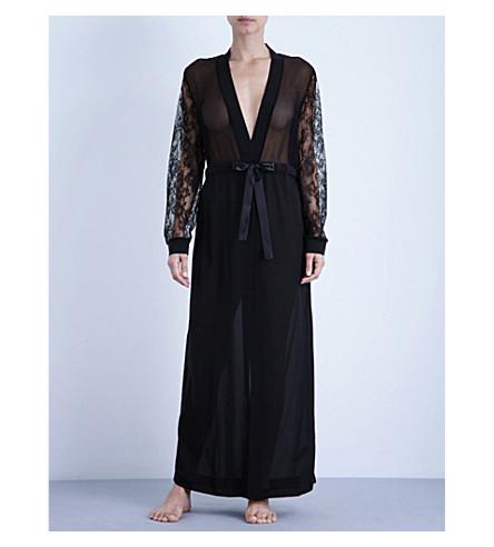 LA PERLA 形-诱惑长丝绸和蕾丝长袍 (黑色