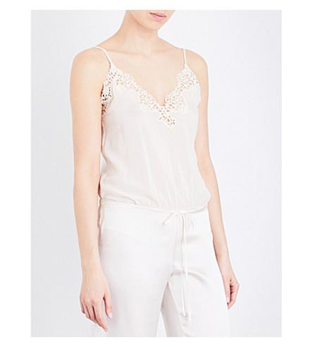 LA PERLA Petit macramé stretch-silk-georgette body (Natural