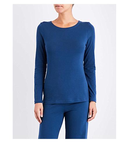 LA PERLA Souple' cotton-jersey and lace top (Dark+blue