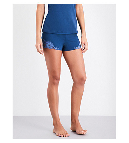 LA PERLA Souple' cotton-jersey and lace pyjama shorts (Dark+blue