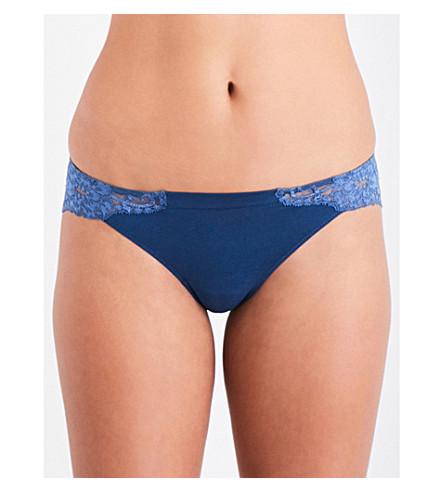 LA PERLA Souple' cotton and lace Brazilian briefs (Dark+blue