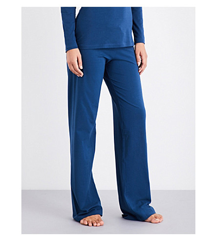 LA PERLA Souple' cotton-jersey trousers (Dark+blue