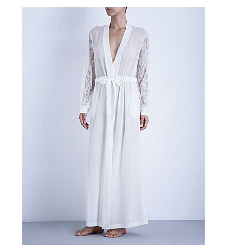 LA PERLA Shape-Allure long silk and lace robe (Ivory