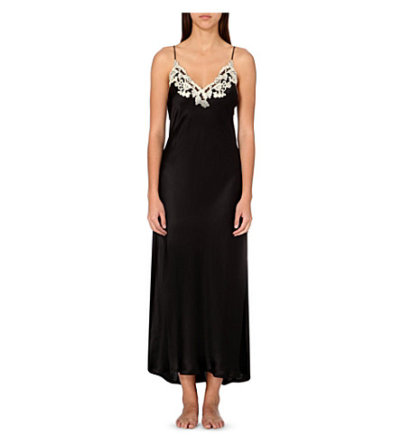 LA PERLA Maison satin nightdress (Black+/+ivory