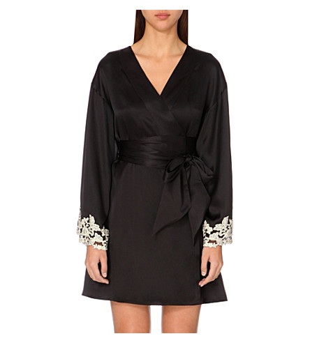 LA PERLA Maison satin robe (Black+/+ivory