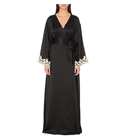 LA PERLA Maison embroidered silk-satin robe (Black+/+ivory