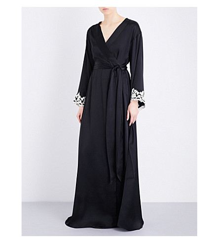 LA PERLA Maison embroidered silk-satin robe (Black