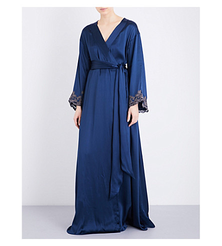 LA PERLA Maison embroidered silk-satin robe (Dark blue