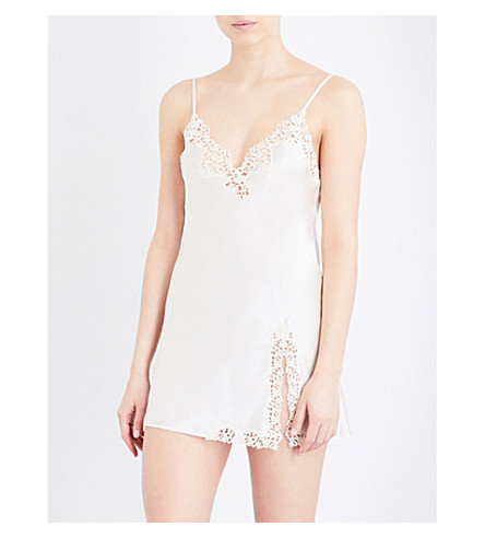 LA PERLA Petit Macramé silk-satin slip dress (Ivory