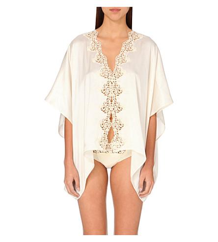 LA PERLA Petit macramé satin dressing gown (Ivory