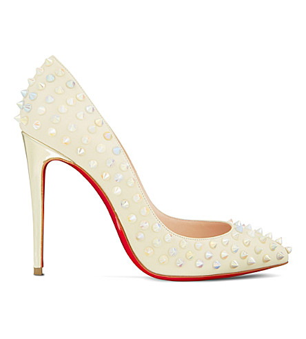 CHRISTIAN LOUBOUTIN Follies spikes 100 kid/specchio (White+ivory/white+ab
