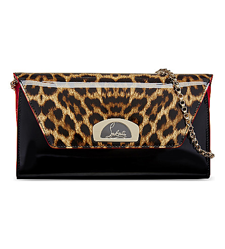 CHRISTIAN LOUBOUTIN Vero dodat clutch patent leo 50s/patent (Version+brown