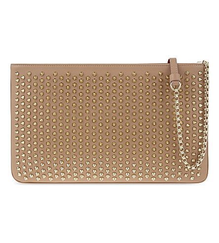 CHRISTIAN LOUBOUTIN Loubiposh nv clutch calf paris/spikes (Nude