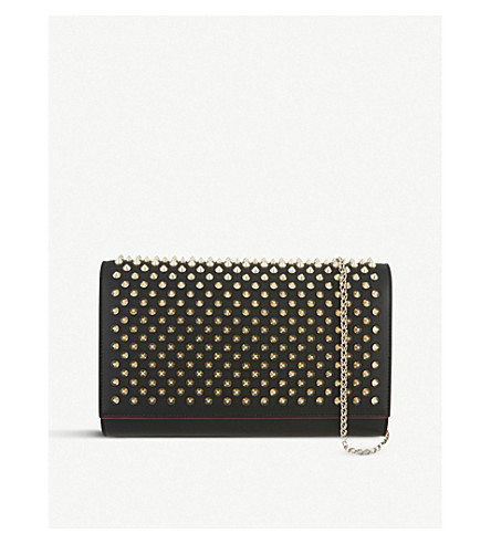 CHRISTIAN LOUBOUTIN Paloma clutch calf p/spikes (Black/brown/gd