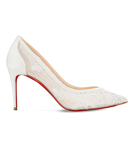 CHRISTIAN LOUBOUTIN Neoalto 85 dentelle mariee/crepe satin (Version+latte