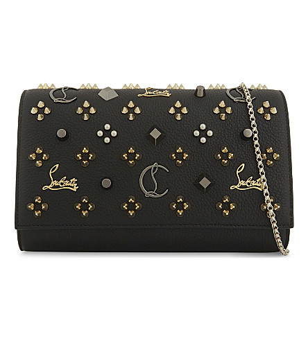 CHRISTIAN LOUBOUTIN Paloma clutch calf (Black/multimetal