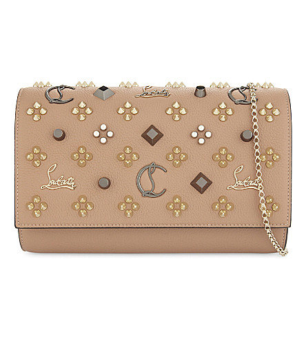 CHRISTIAN LOUBOUTIN Paloma clutch calf (Nude/multimetal