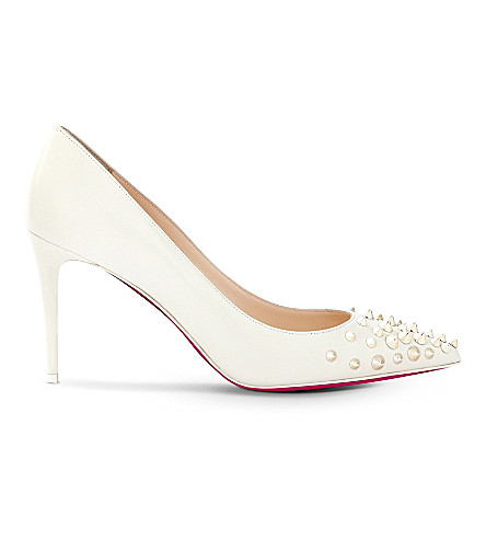 CHRISTIAN LOUBOUTIN Spikyshell 85 nappa shiny (Latte/white+gold
