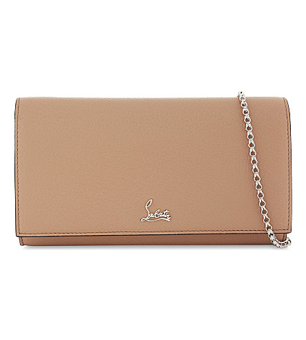 CHRISTIAN LOUBOUTIN Boudoir leather chain wallet (Nude/silver