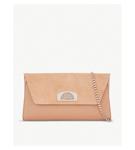 CHRISTIAN LOUBOUTIN Vero dodat suede and leather clutch (Nude/nude