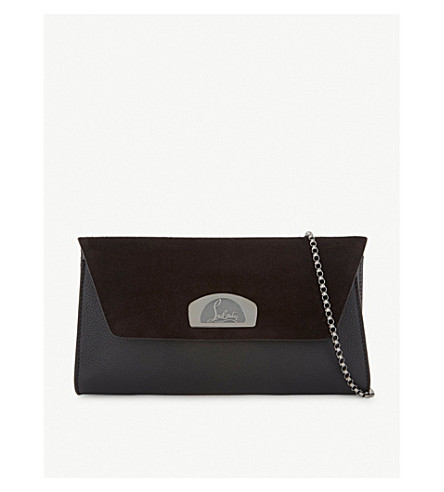 CHRISTIAN LOUBOUTIN Vero dodat suede and leather clutch (Black/black