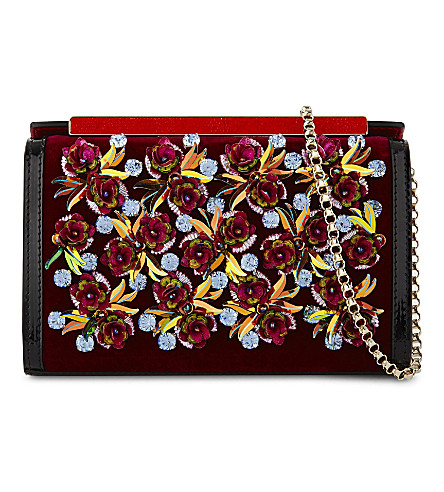 CHRISTIAN LOUBOUTIN Vanite small clutch velvet crystal flowe (Figue/multi
