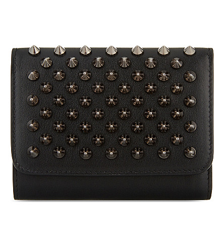 CHRISTIAN LOUBOUTIN Macaron mini wallet (Black/gun+metal