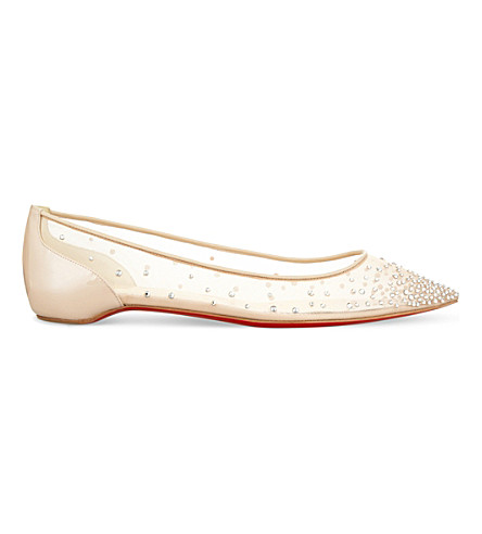 CHRISTIAN LOUBOUTIN Follies Strass flat rete/patent nacre (Version+crystal+silv