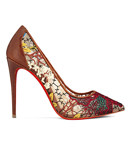 CHRISTIAN LOUBOUTIN Follies lace 100 rete/guip butter (Multi/cuoio
