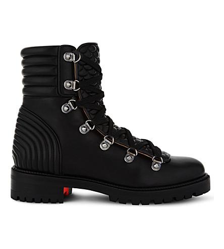 CHRISTIAN LOUBOUTIN 疯狂靴扁纳帕闪亮 (黑色