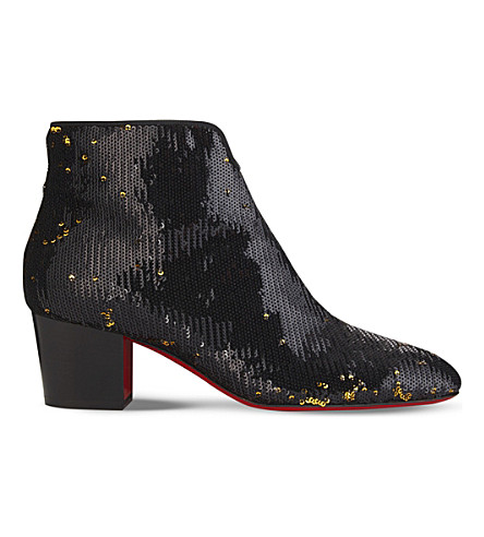 CHRISTIAN LOUBOUTIN Disco 70s 55 paillettes caresse/cuoio he (Black/gold