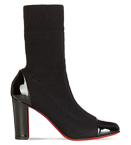 CHRISTIAN LOUBOUTIN Taco Sock 85 pat/maille tricot (Black