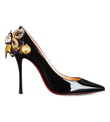 CHRISTIAN LOUBOUTIN Galonna 100 patent (Black/gold