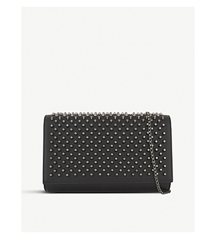 CHRISTIAN LOUBOUTIN Paloma clutch calf/spikes (Black/gun+metal
