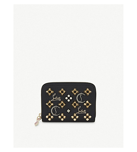 CHRISTIAN LOUBOUTIN Panettone leather coin purse (Black/multimetal