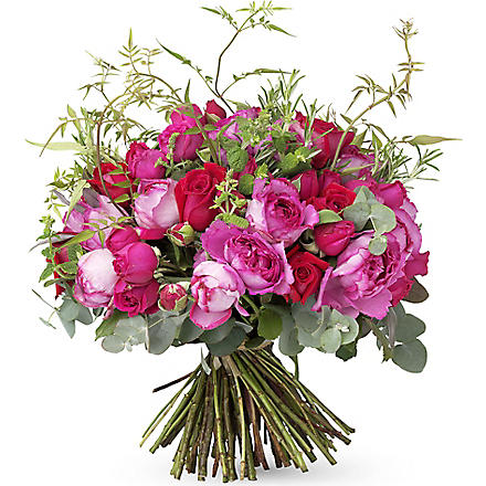 THE REAL FLOWER COMPANY Hot pink red luxury hand tied bouquet