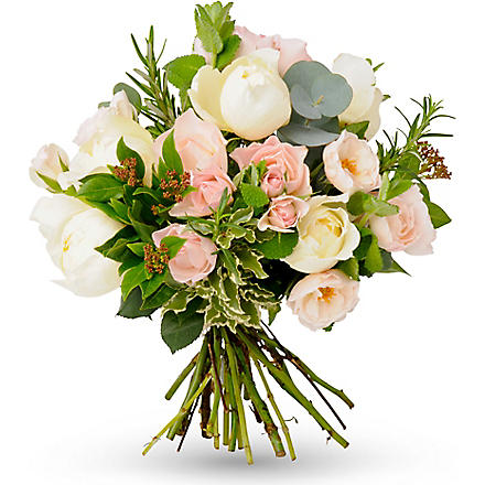 THE REAL FLOWER COMPANY Pink and cream hand tied bouquet