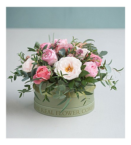 THE REAL FLOWER COMPANY Antique Rose hat box bouquet