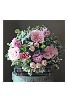 THE REAL FLOWER COMPANY Spring blush pink rose & hyacinth bouquet