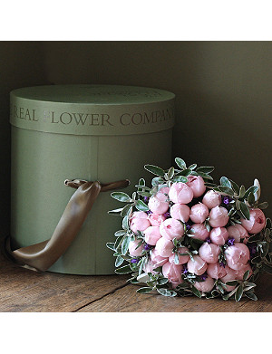 THE REAL FLOWER COMPANY Scented Blush Pink Peony Rose hat box