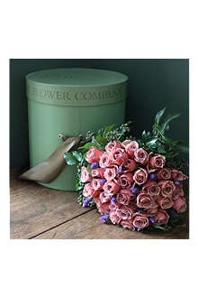 THE REAL FLOWER COMPANY Cafe Latte hat box rose bouquet