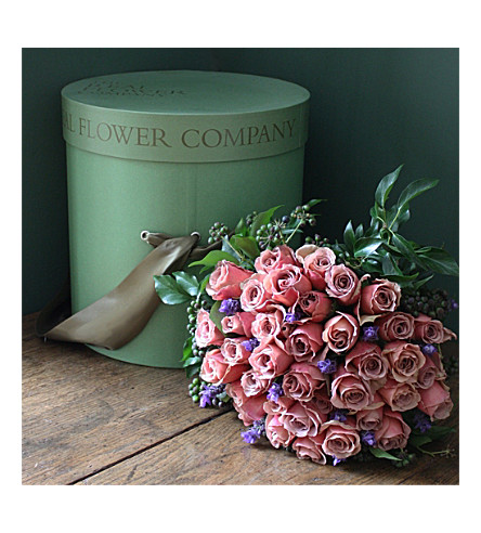 THE REAL FLOWER COMPANY Cafe Latte Roses hat box (34