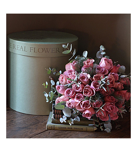 THE REAL FLOWER COMPANY Caffe Latte Rose Hat Box
