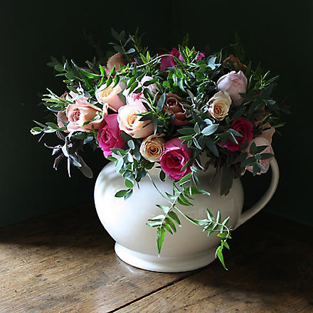 THE REAL FLOWER COMPANY Chelsea antique pink rose 36 stem bouquet in jug