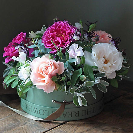 THE REAL FLOWER COMPANY English garden rose hat box arrangement